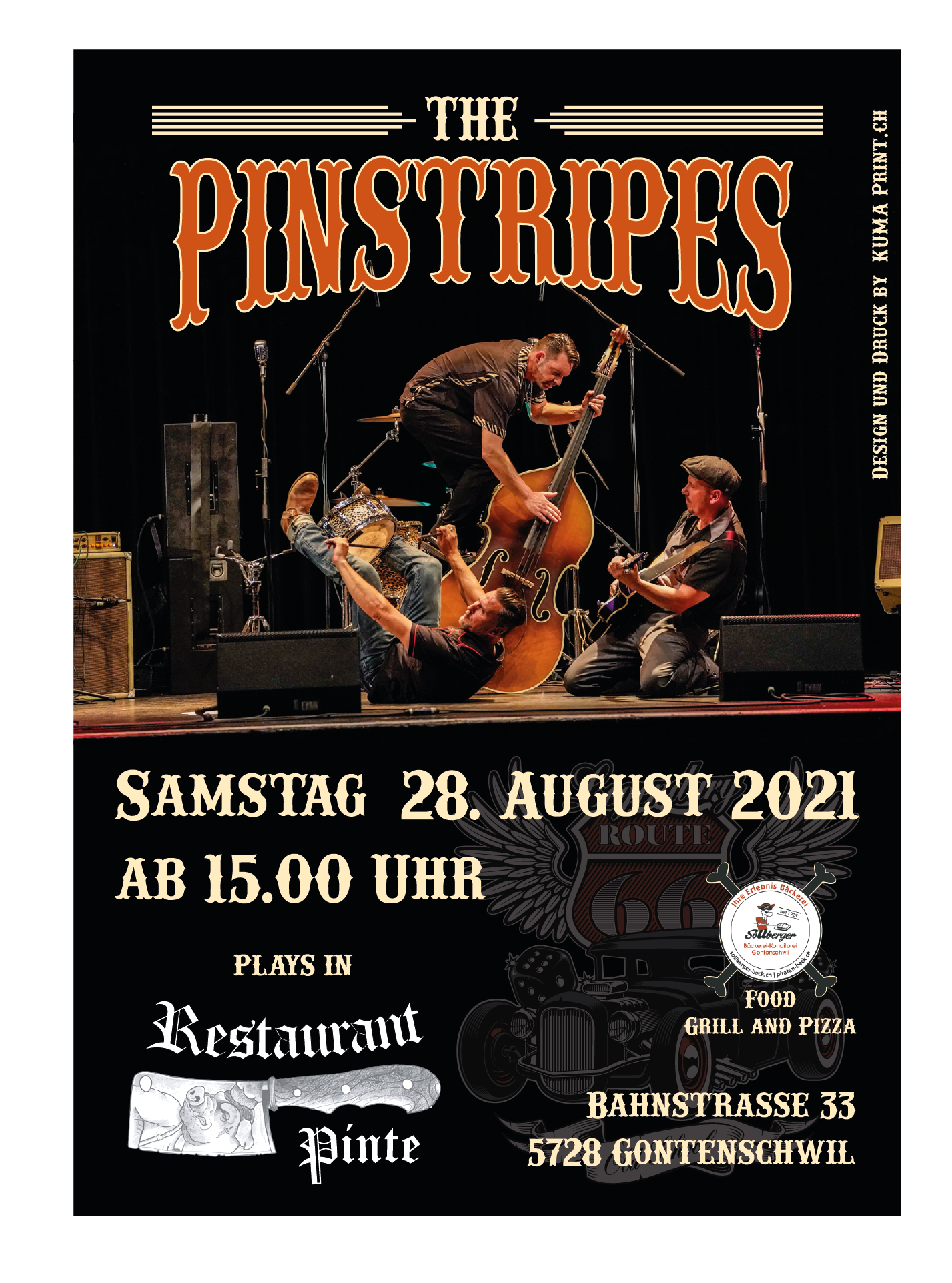 Flyer 28.August The Pinstripes Druck